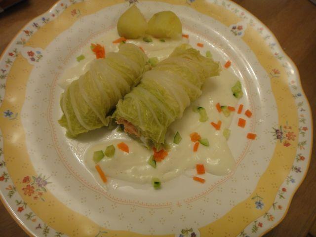 鮭の白菜ロール蒸し