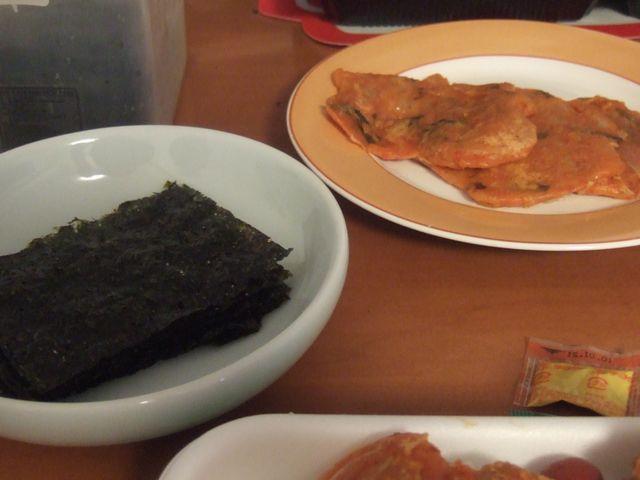 韓国海苔とチヂミ